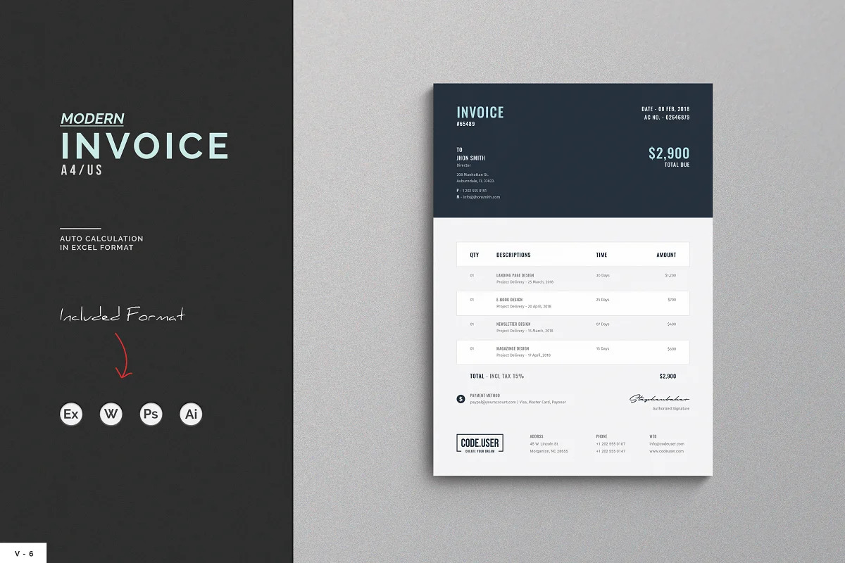 Invoice by themDiviser