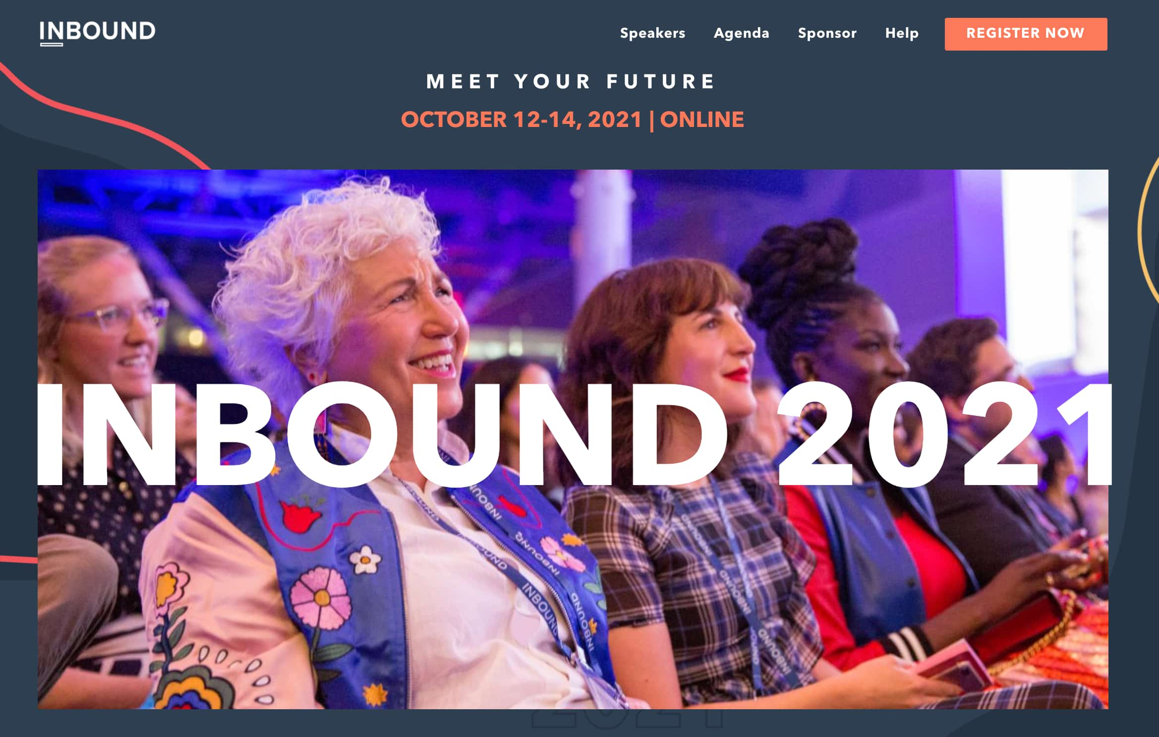 HubSpot inbound 2021 conference website homepage featuring event attendees sitting in the audience