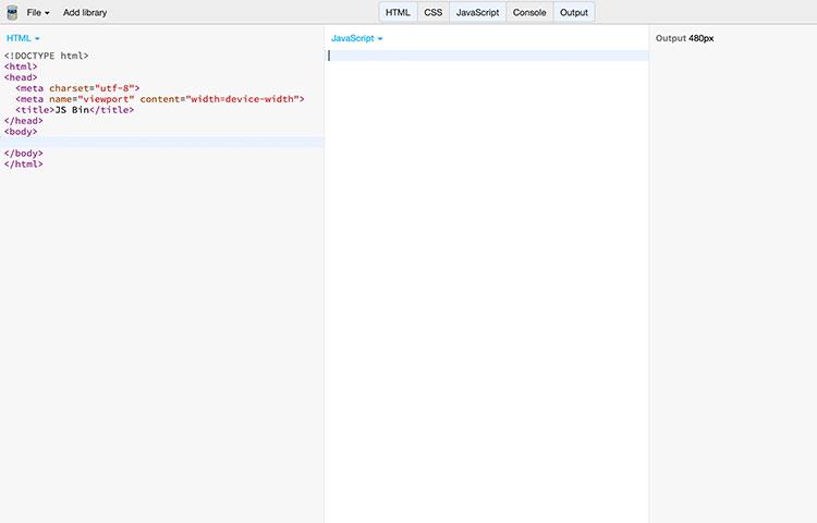 jsBin website code screenshot
