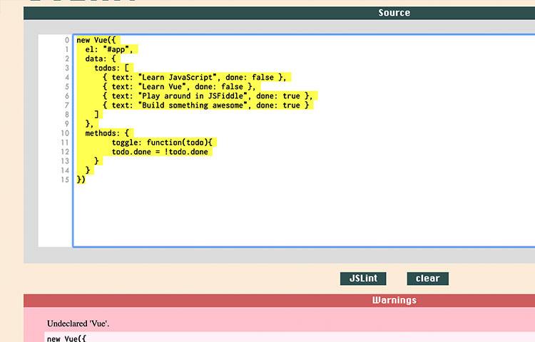 JSLint JavaScript code debugging console