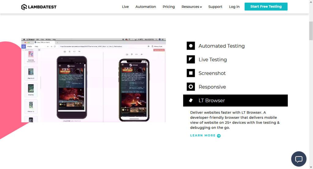 lambdatest mobile testing tool