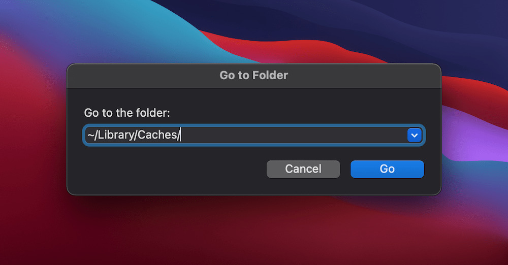 The Finder's Go window showing the location of the Mac cache.