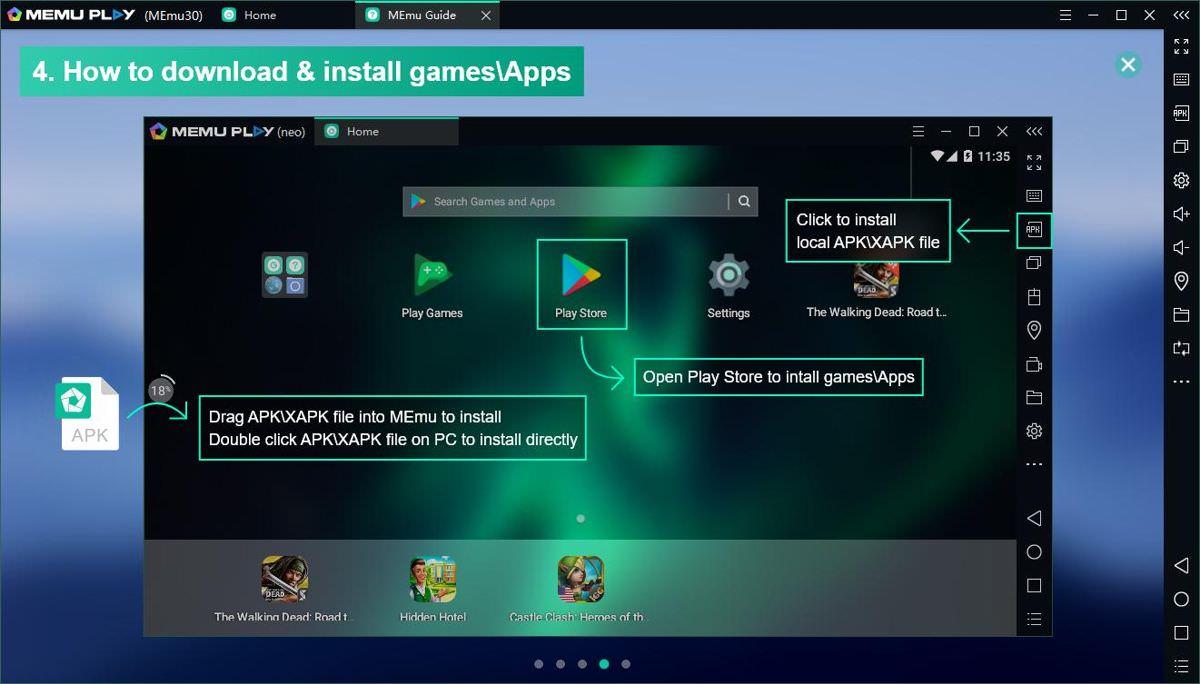 MEmu Play allows APK file downloads