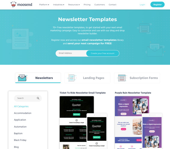 Newsletter Software Tools: Moosend