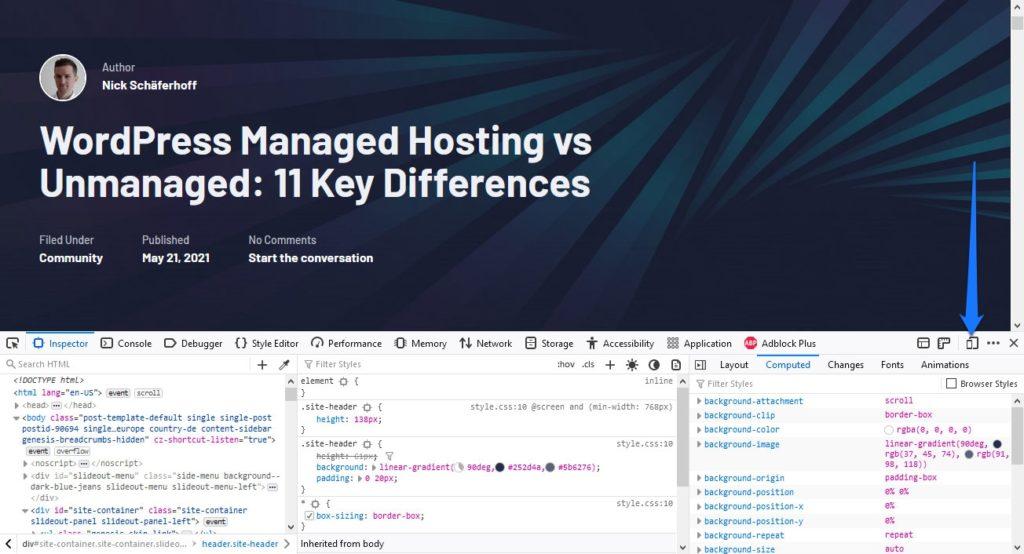 open firefox responsive design mode in developer tools