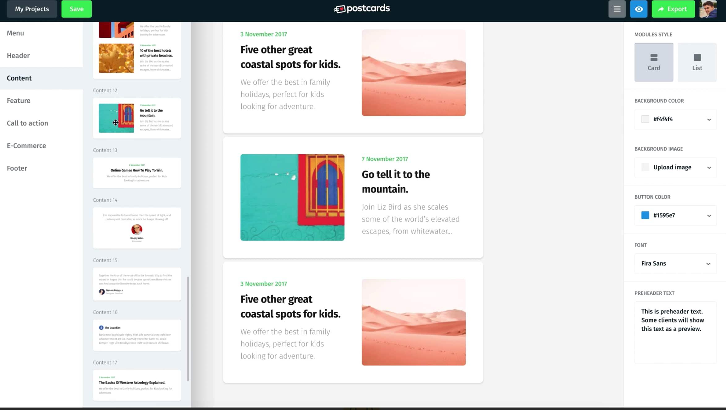Newsletter Software Tools: Postcards