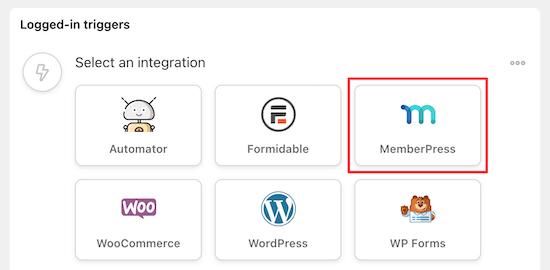 Select MemberPress trigger