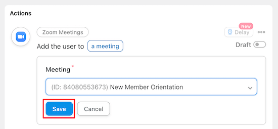 Select new member Zoom call