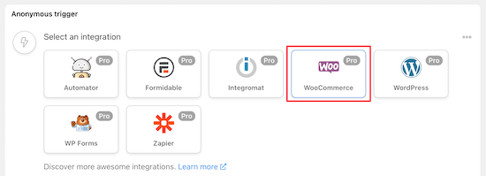 Select WooCommerce trigger