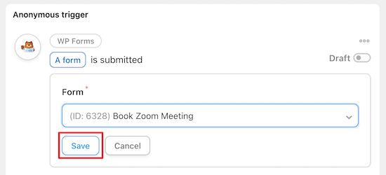 Select WPForms form