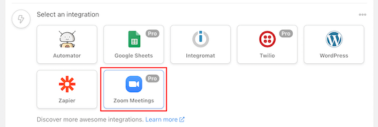 Select Zoom meetings integration