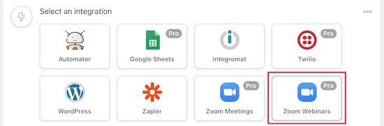 Select Zoom Webinars integration