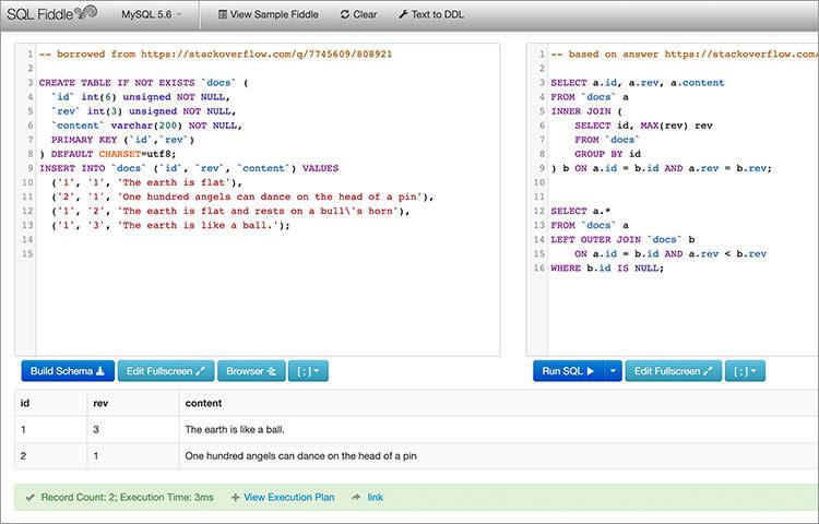 SQL Fiddle coding MySQL and MSSQL online IDE