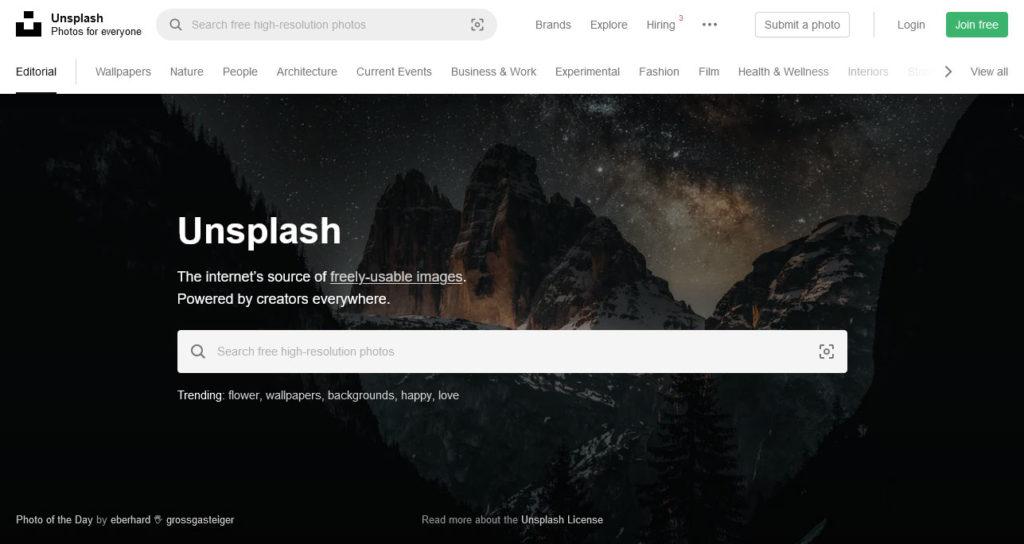 unsplash stock photo site