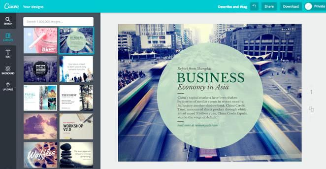 Various layout options in Canva