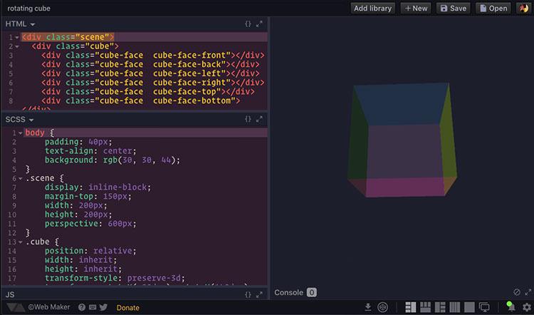 Web Maker app interface