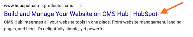 Website page title example in search results