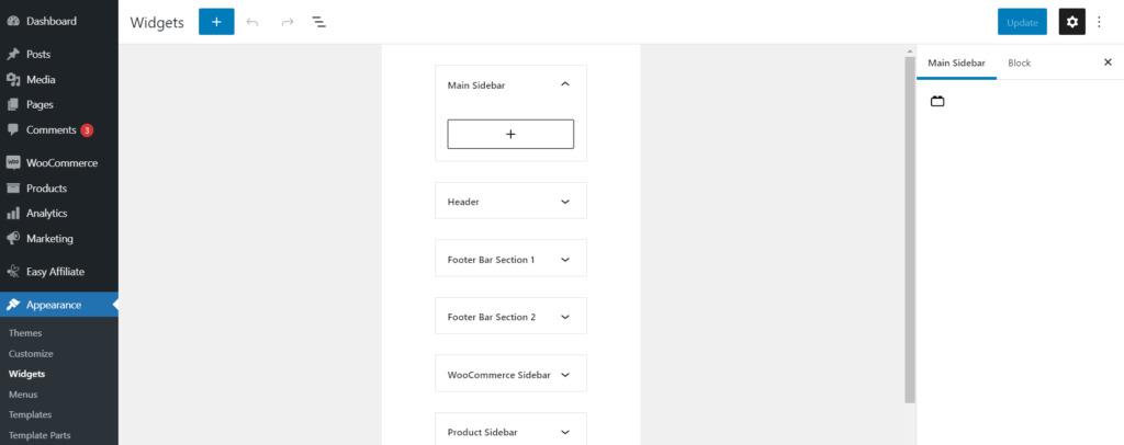 Using the widget editor with blocks