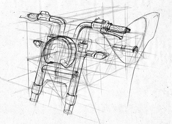 bike perspective wireframe