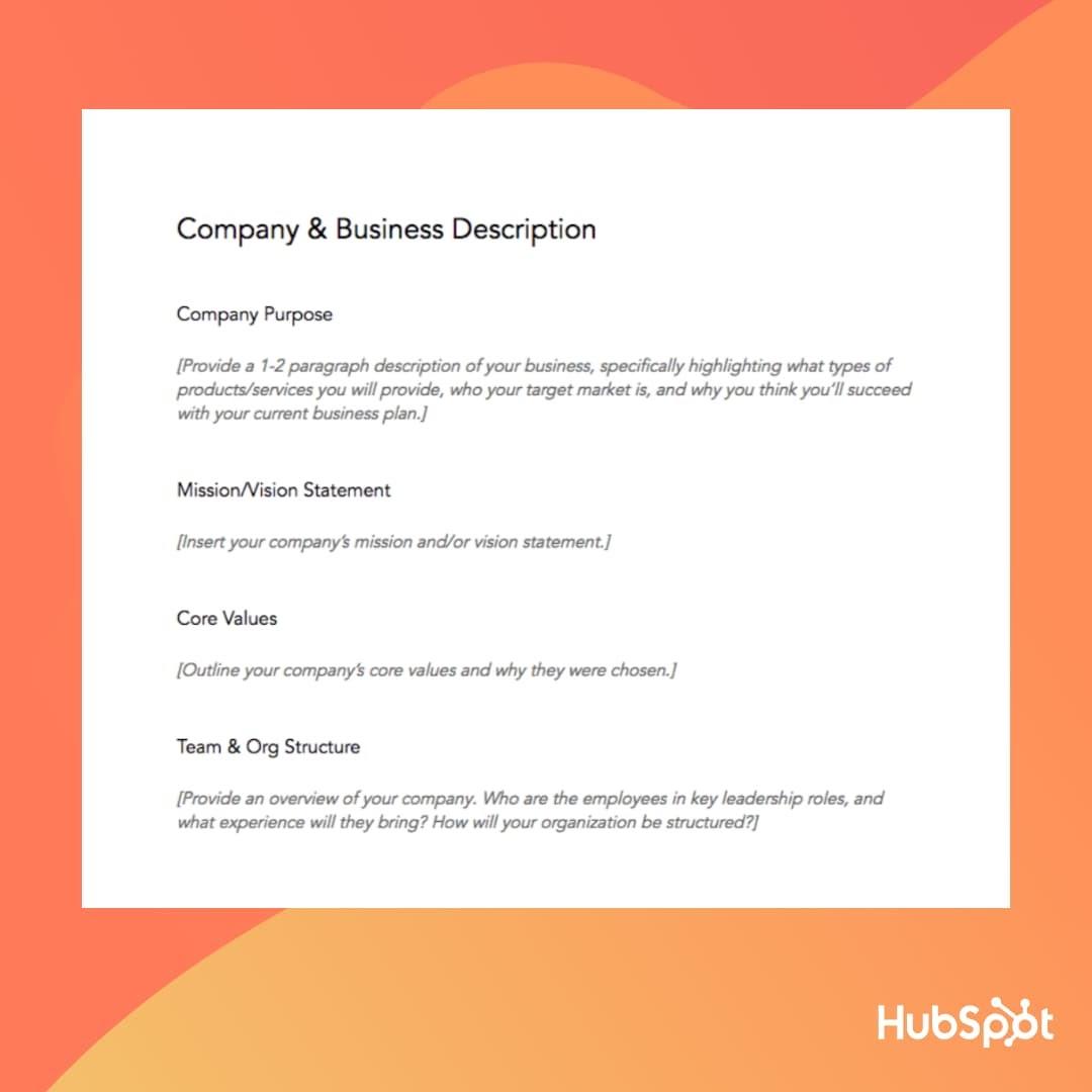 Business Plan Template: Business Description