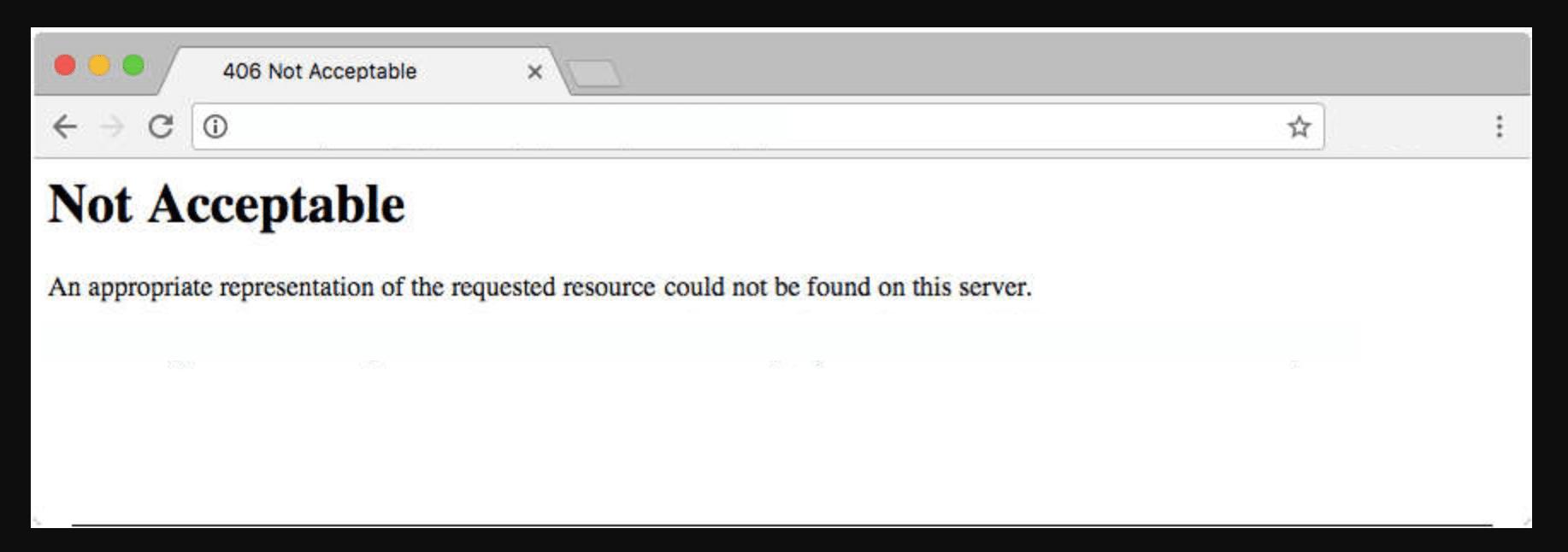 A screenshot of 406 error in a browser.