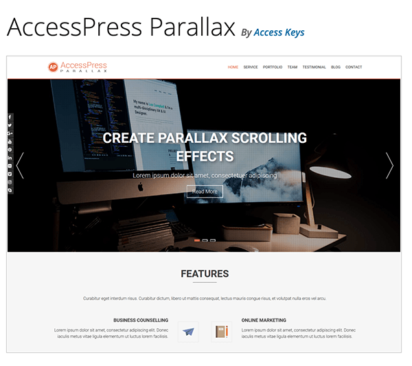 AccessPress Parallax header.