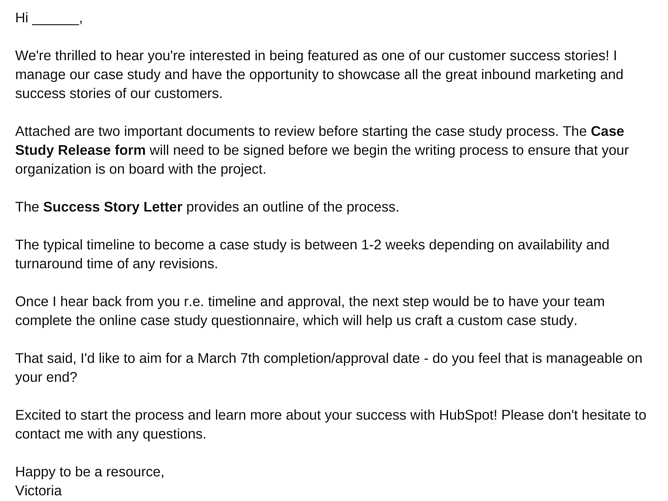 sample case study email release form template