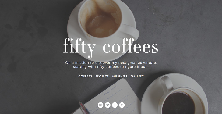 Personal Website Examples: fifty coffees blog