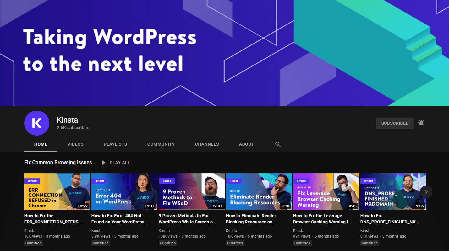 A screenshot of Kinsta's YouTube Channel page.