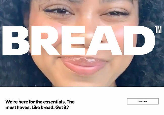 Above the fold website example from Bread Beauty Supply