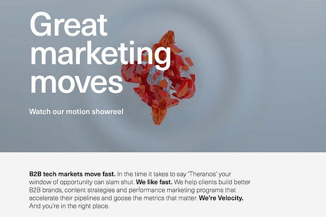 Above the fold website example from Velocity Partners