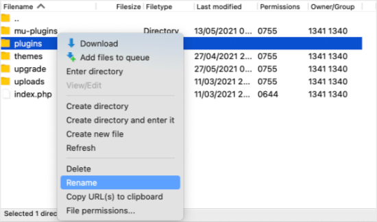 Right Click to Rename the Plugins Folder
