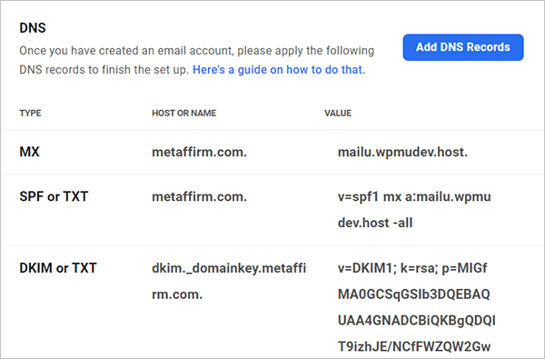 Add DNS records to email account.
