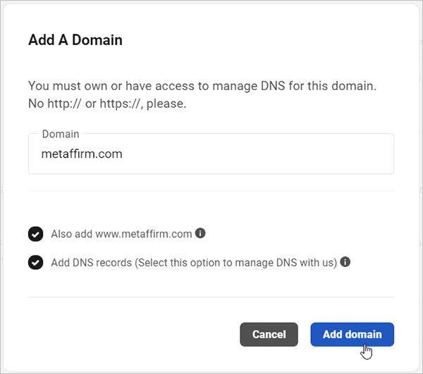 Add Domain to Hub