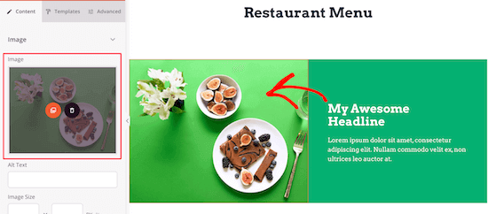 Add menu item image