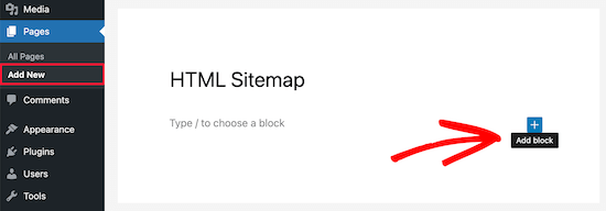 Add new block for HTML sitemap