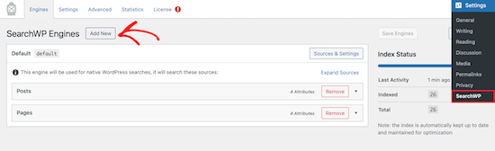 Add new SearchWP search engine