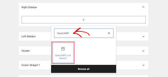 Add SearchWP live search widget