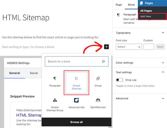 Add simple sitemap block