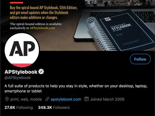 AP Style Guide twitter bio example