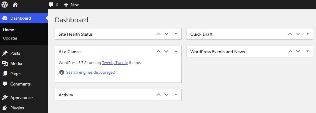 """A screenshot of the """"At a Glance"""" view in the WordPress dashboard"""