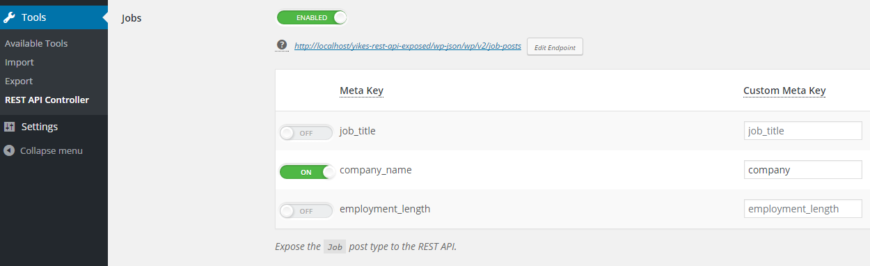 fragment of WP REST API settings page