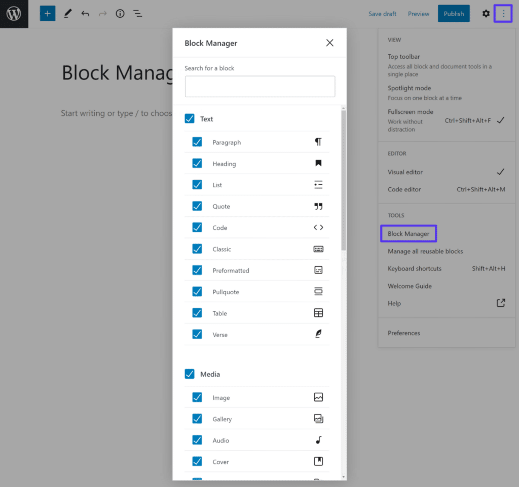 In the block manager, You can uncheck blocks to hide them from the block inserter