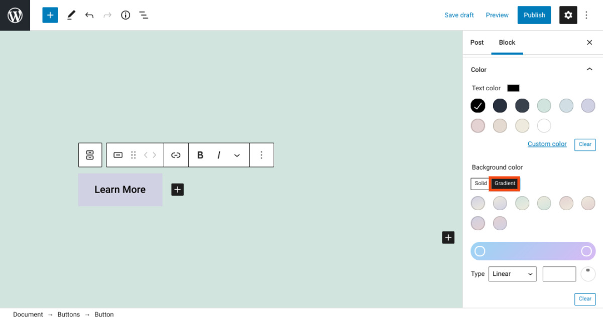 The color settings on the WordPress Button block.