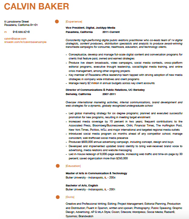 marketing resume with creative format