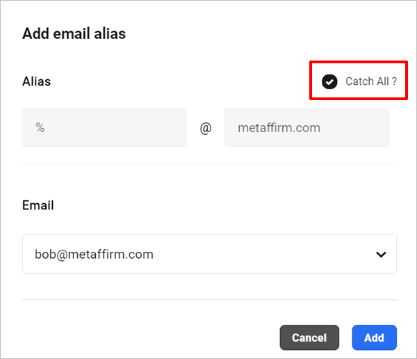 Catch-all email address.