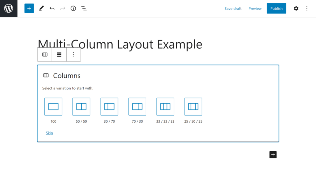 Choose the column structure and ratio in the Gutenberg WordPress editor