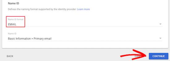 Choose email nameid