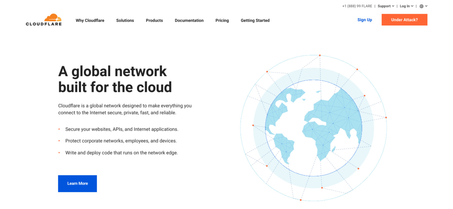 The Cloudflare website.