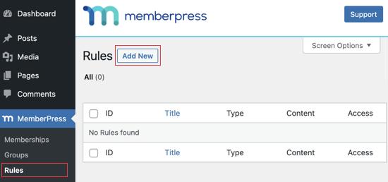 Visit the MemberPress Rules Page